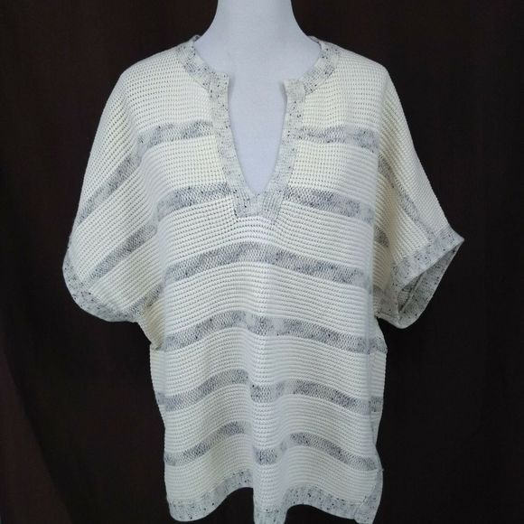 Vince Sweaters - New Vince M/L Poncho Style Sweater Ivory Notched